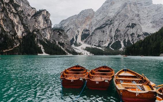 Wallpaper Lake, boats, mountains