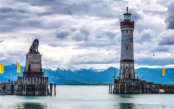 Wallpaper Lake, lighthouse, Lindau, Bayern, Germany
