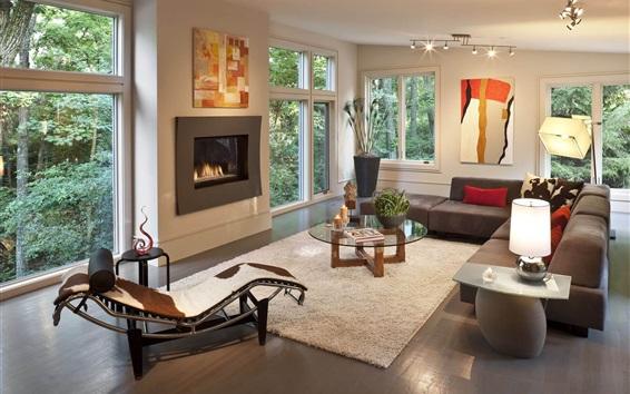 壁纸 客厅,沙发,壁炉,窗户,灯