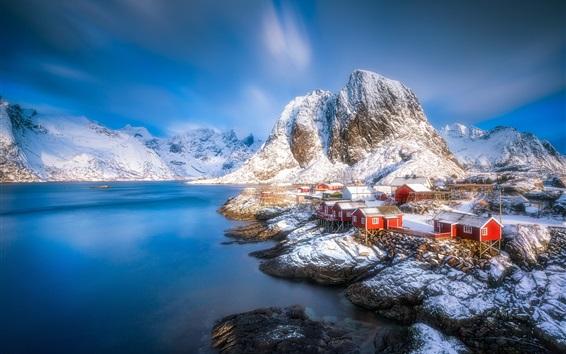 Wallpaper Lofoten beautiful landscape, houses, fjord, mountains, snow, winter, Norway