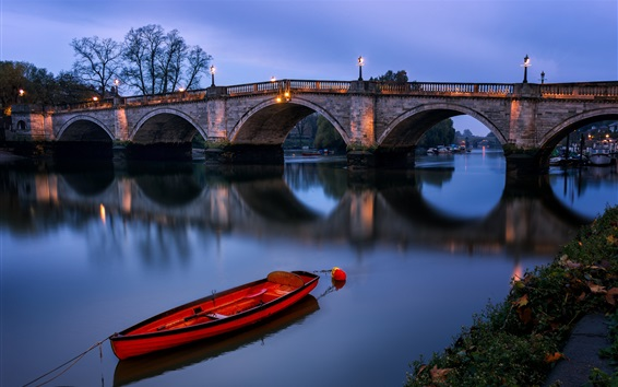 Wallpaper London, England, Richmond bridge, river, boat, night