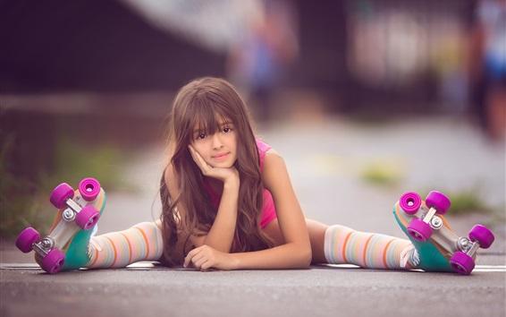 Wallpaper Lovely child girl, skates, look at you