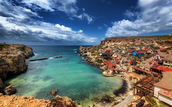 Wallpaper Malta, Popeye Village, mediterranean, sea, coast, houses