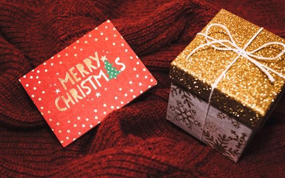 Wallpaper Merry Christmas card, gift box, shine