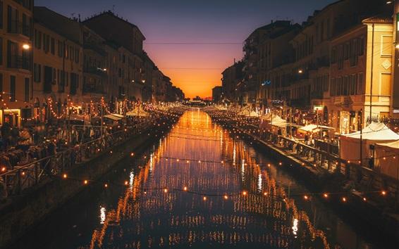 Fond d'écran Milan, Italie, nuit, rivière, lumières, ville
