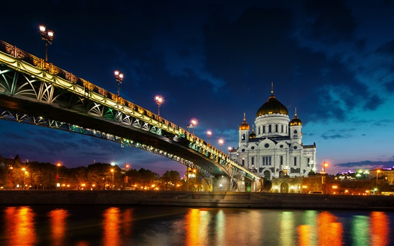 Wallpaper Moscow, bridge, water reflection, river, night, lights, Russia