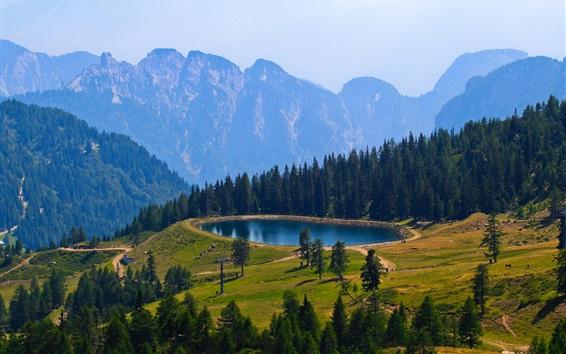 Wallpaper Mountains, pond, trees