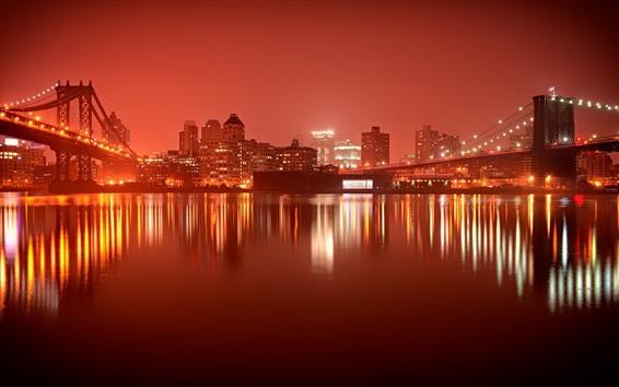 Papéis de Parede Nova Iorque, noite, cidade, rio, pontes, edifícios, luzes, Brooklyn, EUA
