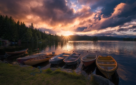 Wallpaper Norway, Ringerike, lake, boats, trees, sunrise