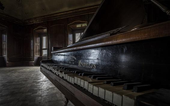 배경 화면 오래된 피아노, 집