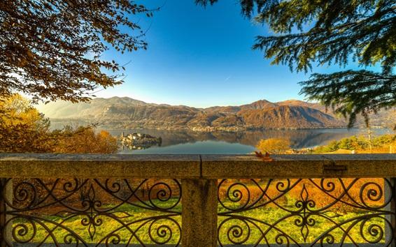 桌布 皮埃蒙特,奧爾塔湖,聖朱利奧島,圍欄,樹木,意大利