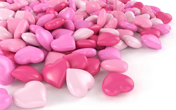 Fond d'écran Bonbons de coeur d'amour rose