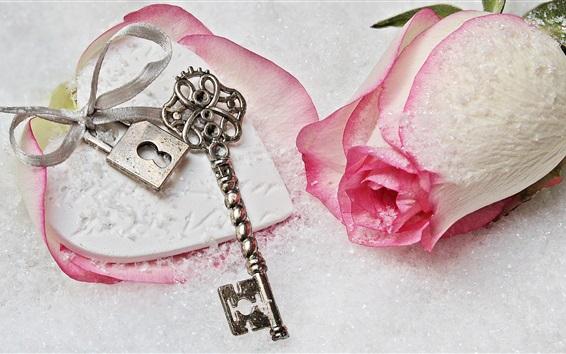 Wallpaper Pink rose, snow, key, lock