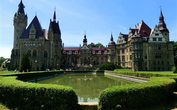 Fond d'écran Pologne, château de Moszna, étang, buissons