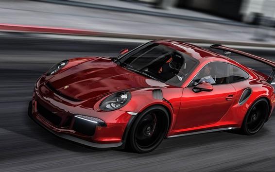 Fond d'écran Porsche 911 vitesse de la voiture de sport rouge, jeu GTA