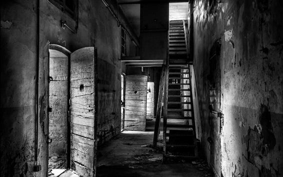 배경 화면 감옥, 흑백 사진
