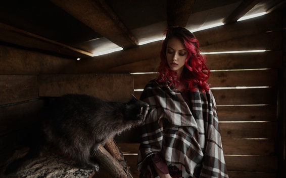 Wallpaper Red hair girl and raccoon