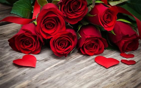 배경 화면 빨간 장미, 사랑의 마음, 나무 판자
