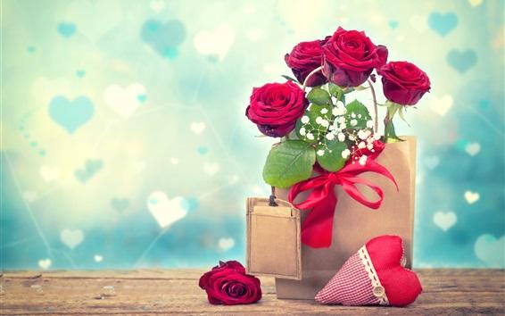 Wallpaper Red roses, paper bag, love hearts