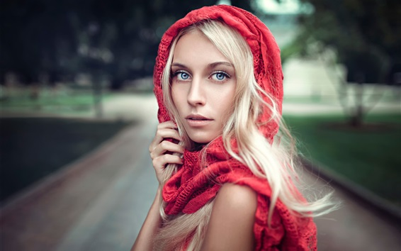 Wallpaper Red scarf, blonde girl