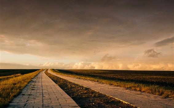 Wallpaper Roads, grass, clouds, dusk