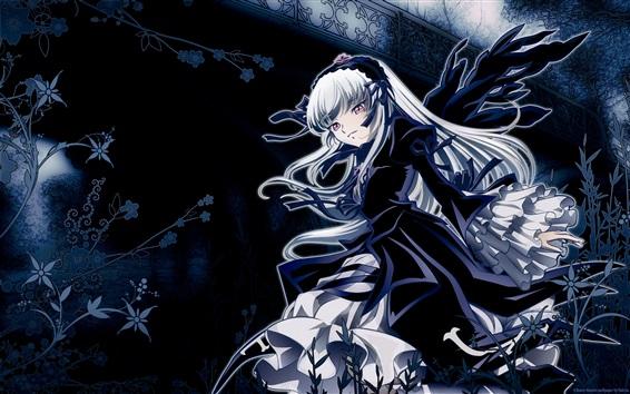 Обои Розен Дева, девушка из аниме с белыми волосами