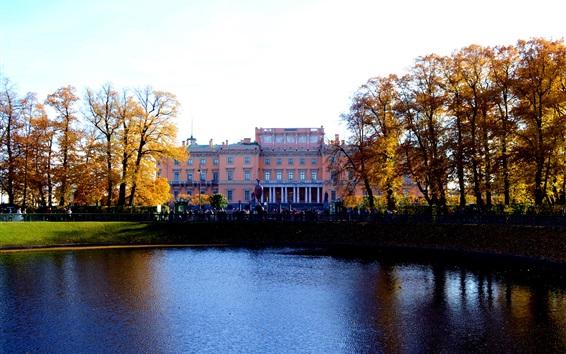 Wallpaper Russian Museum, St. Petersburg, pond, trees, autumn