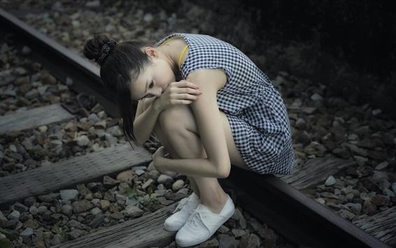 Wallpaper Sadness Asian girl, railroad