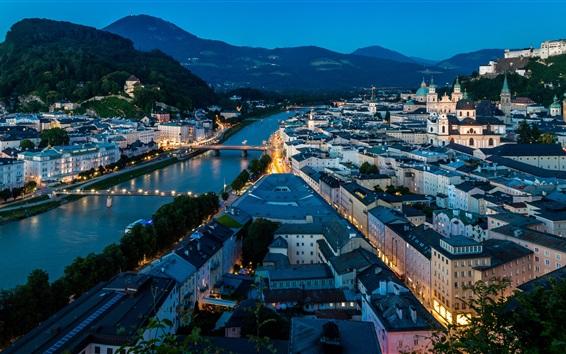 Papéis de Parede Salzburgo, Áustria, cidade noite, rio, ponte, casas, luzes