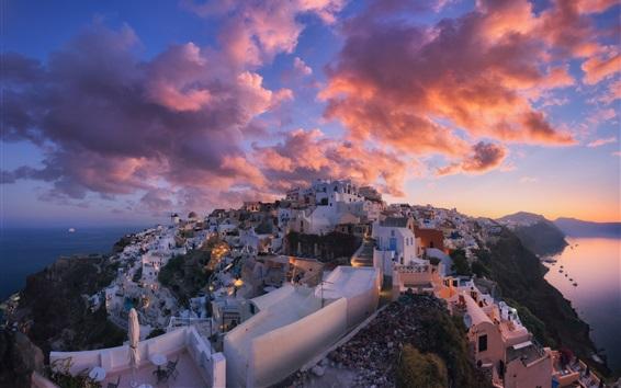 壁紙 サントリーニ島、ギリシャ、都市、夕暮れ、雲