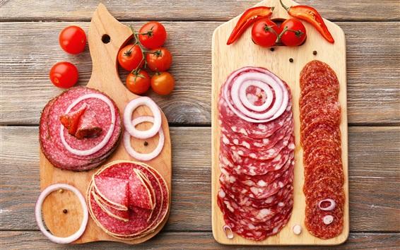 Wallpaper Sausage slice, pepper, tomato, food