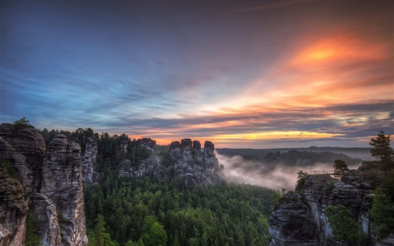 Wallpaper Saxon Switzerland National Park, Bastei, Germany, mountains, trees, sunset