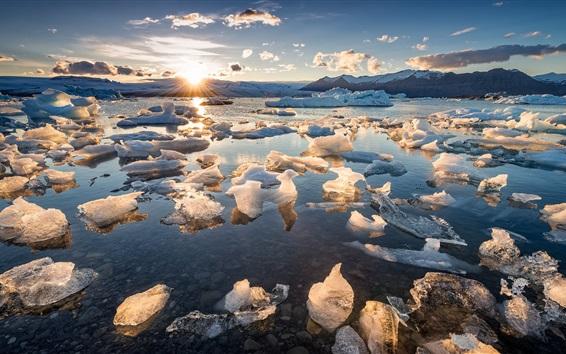 배경 화면 바다, 얼음, 일출, 아침