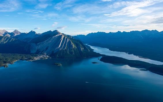 Обои Море, острова, горы, облака, утро