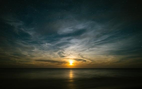 Wallpaper Sea, sunset, skyline