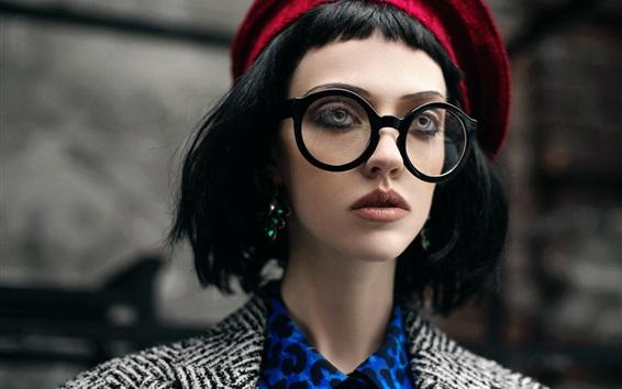 Wallpaper Short hair girl, glasses, hat
