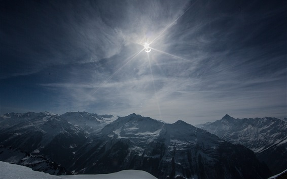 Wallpaper Solar Eclipse, mountains, sky, clouds