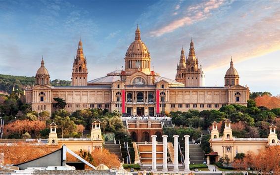 Papéis de Parede Espanha, Barcelona, Museu Nacional, Palácio, escada, cidade
