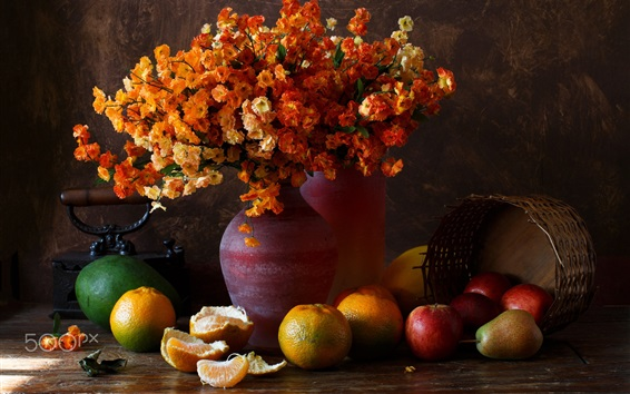 Wallpaper Still life, oranges, pears, flowers