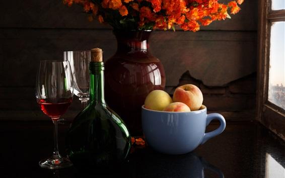 Wallpaper Still life, wine, cup, peach, flowers