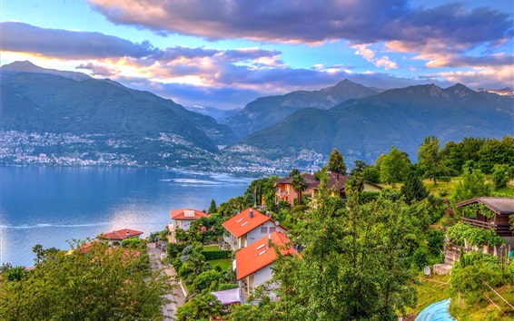 Papéis de Parede Suíça, Maggiore, lago, casas, árvores, Alpes, nuvens