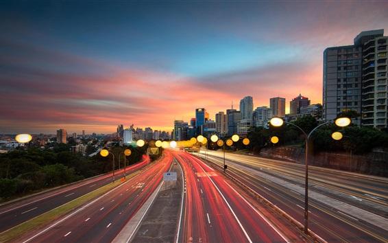Обои Сидней, дорога, огни, закат, сумерки, город