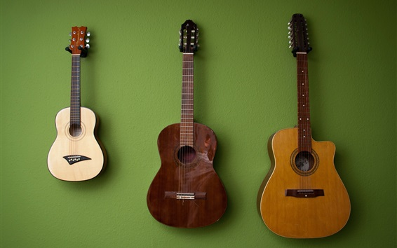Three guitars, green background Wallpaper Preview
