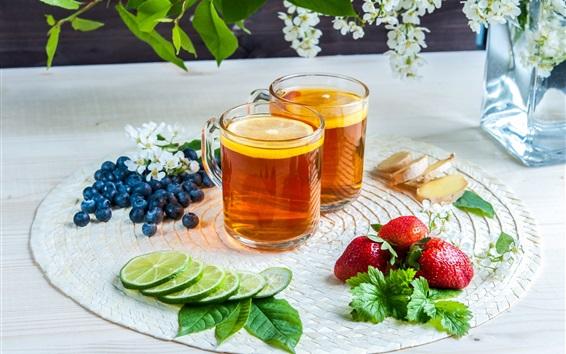 Wallpaper Two cups tea, lemon slice, strawberry, blueberry