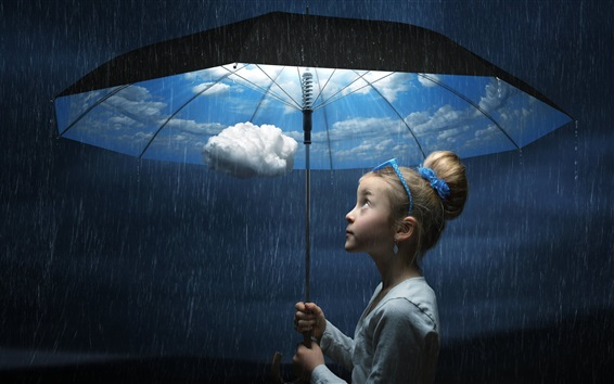 배경 화면 우산, 아이 소녀, 비오는 날, 하늘, 구름, 창조적 인 그림