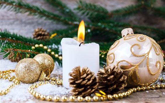 Wallpaper White candle, flame, Christmas balls