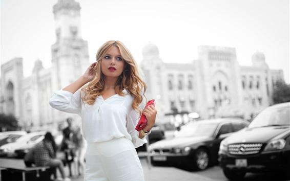 Wallpaper White dress girl, city, street