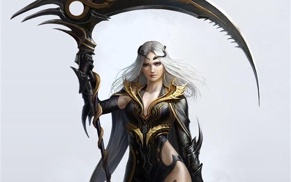 壁紙 白髪のファンタジーガール、ヘビ、武器