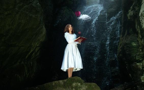 Wallpaper White skirt girl read book, magic, balloon, clouds