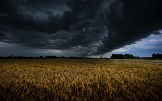 Wallpaper Windmill, fields, clouds, storm